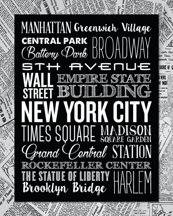 Close-up of New York City Typography