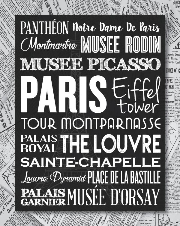 Black and White Paris Typography 8x10 Newpaper Matte