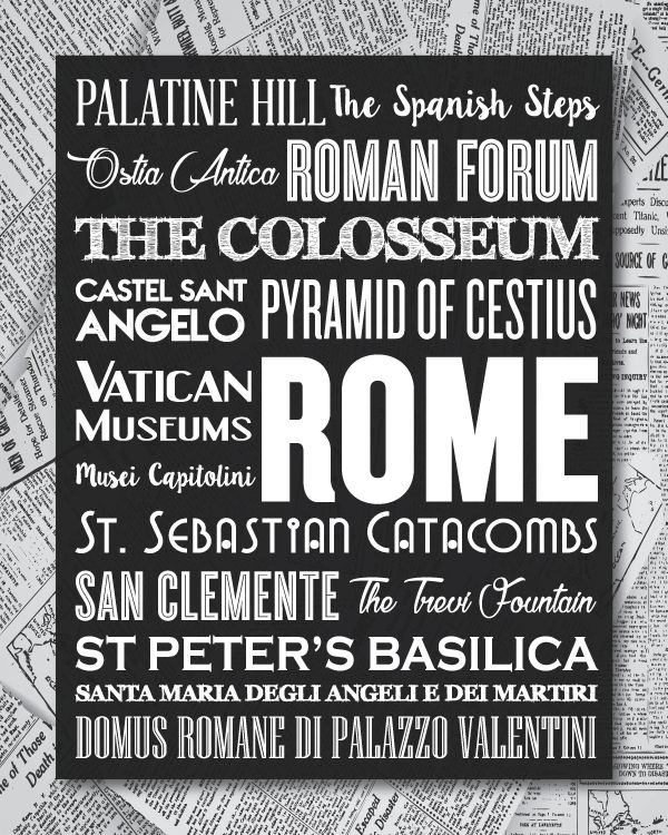 Black and White Rome Typography Print