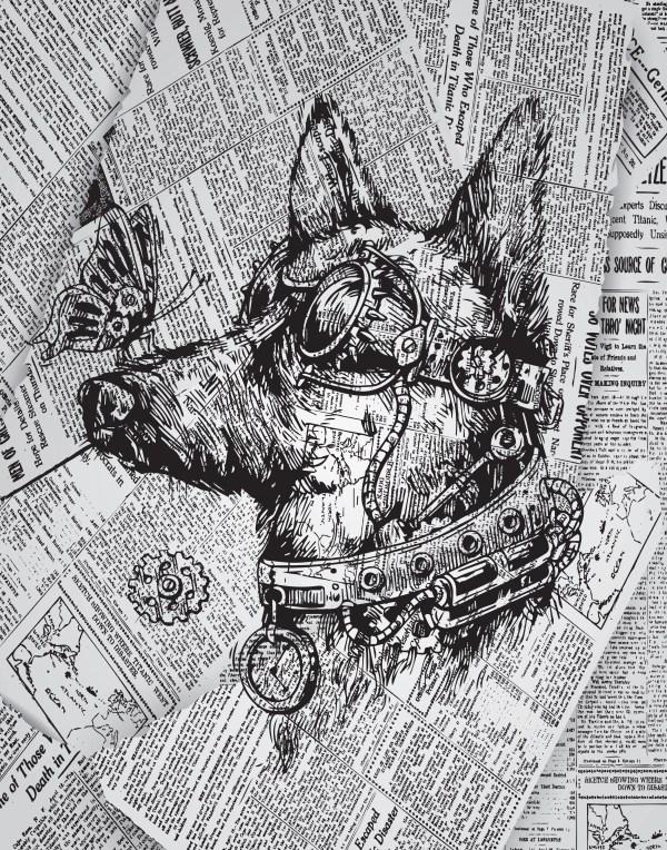 Steampunk Dog Print