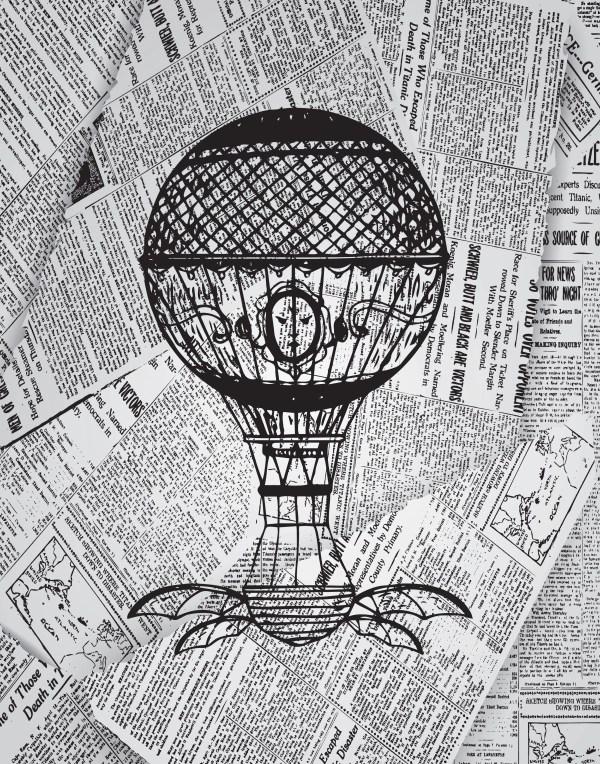 Steampunk Hot Air Balloon Print Print