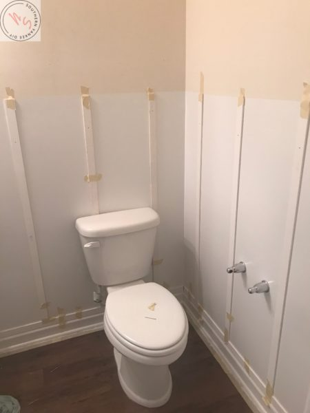 1/2 Bathroom Board and Batten bathroom board and batten, lattice pieces taped to wall