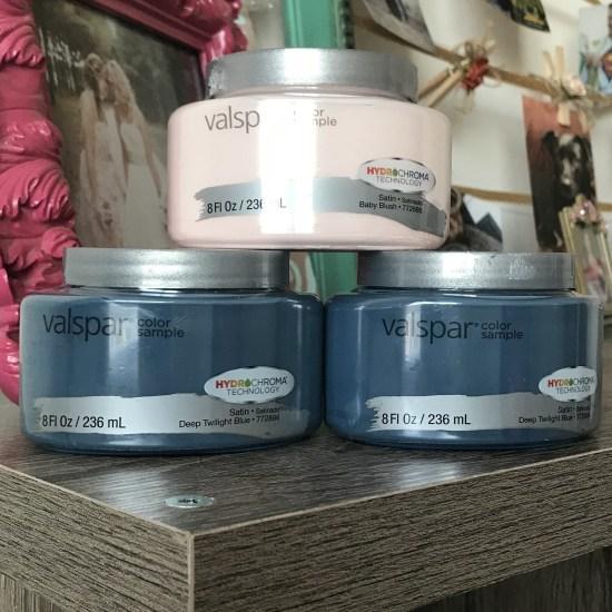 Valspar sample paints. dark blue & light pink