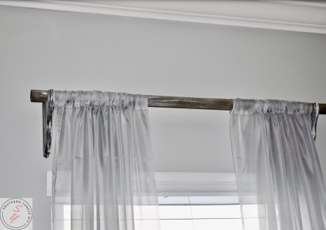 gray curtains, diy wood corbel, wood rod