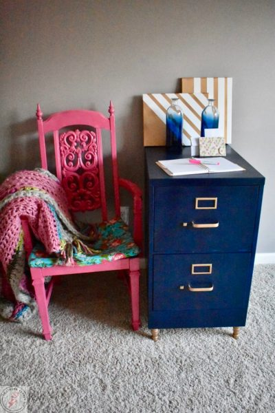 File Cabinet Makeover-Pink chair 2