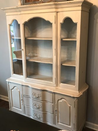 China Cabinet Makeover, wallpaper, furniture update, prints, furniture makeover, chalk paintChina Cabinet Makeover