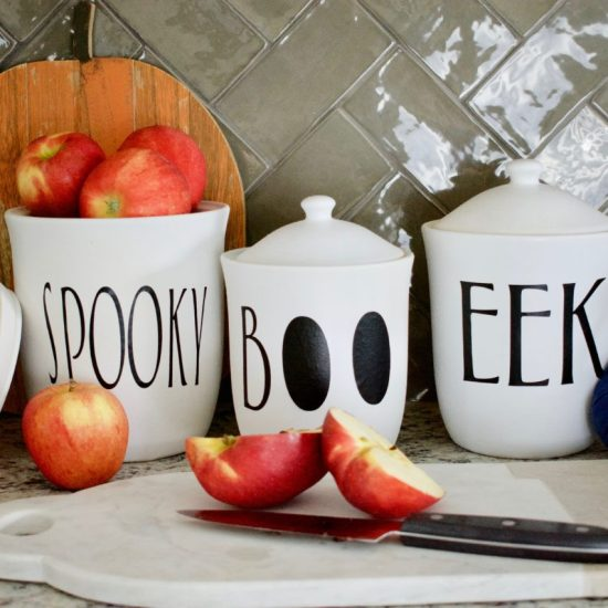 Rae Dunn, Kitchen Canisters, Halloween, Halloween Decor, Halloween kitchen decor, Rae Dunn Inspired, circuit project, Rustoleum spray paint, DIY project, DIY decor, Upcycle project