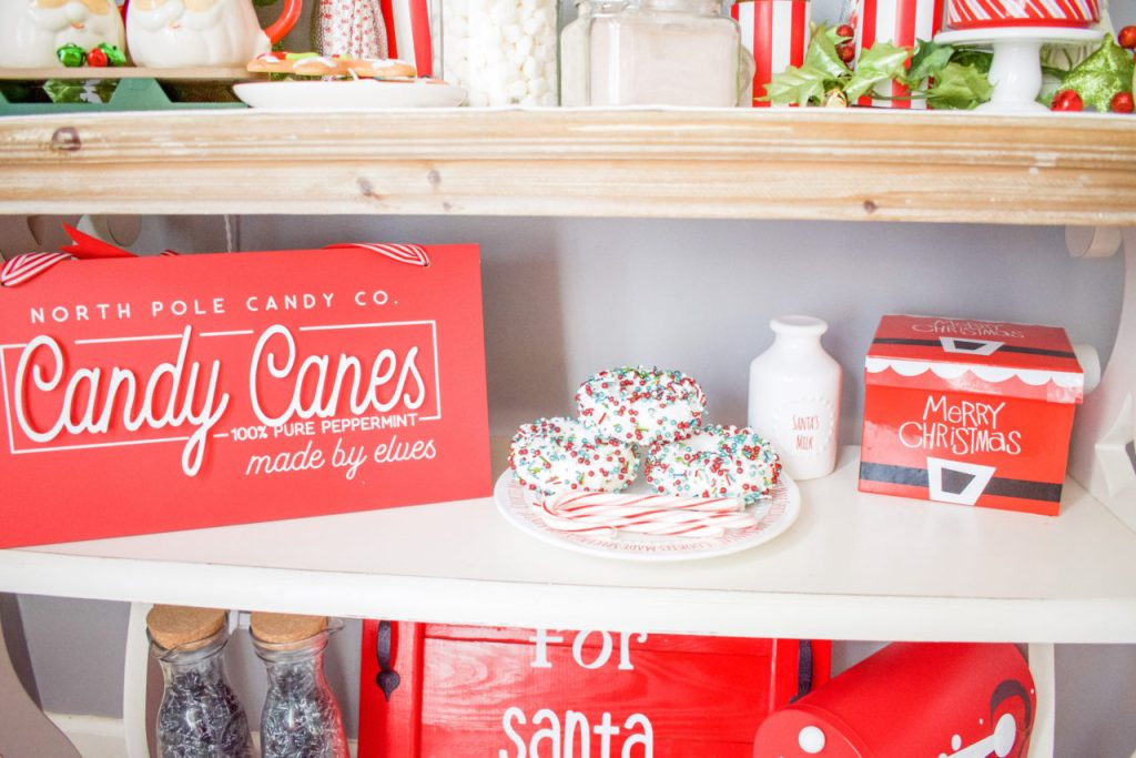 Deck the halls, at home DIY, Santa cookie tray, diy, diy wood tray, Christmas decor, Christmas craft, rust oleum, scrap wood diy, project, scrap wood project, holiday decor, 2 hour project, hot cocoa bar, diy hot cocoa bar, diy menu sign, diy sign, upcycle project, Christmas party