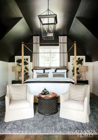 dark bedroom, master bedroom, dark bedroom walls, accent walls, board & batten, grid accent walls, gold accents, cozy bedrooms, painted ceilings, painted walls, moody bedrooms colors, sherwin willaims
