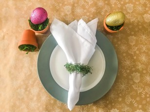 Easter, easter decor, rae dunn decor, Rae Dunn Signs, farmhouse decor, napkin rings, spring tablescape, moss napkin rings, easter banner, garland, easter cricut project