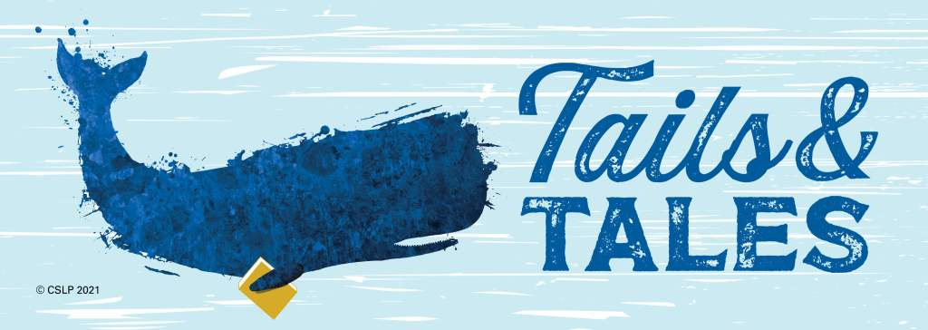 Blue whale with the words Tails & Tales