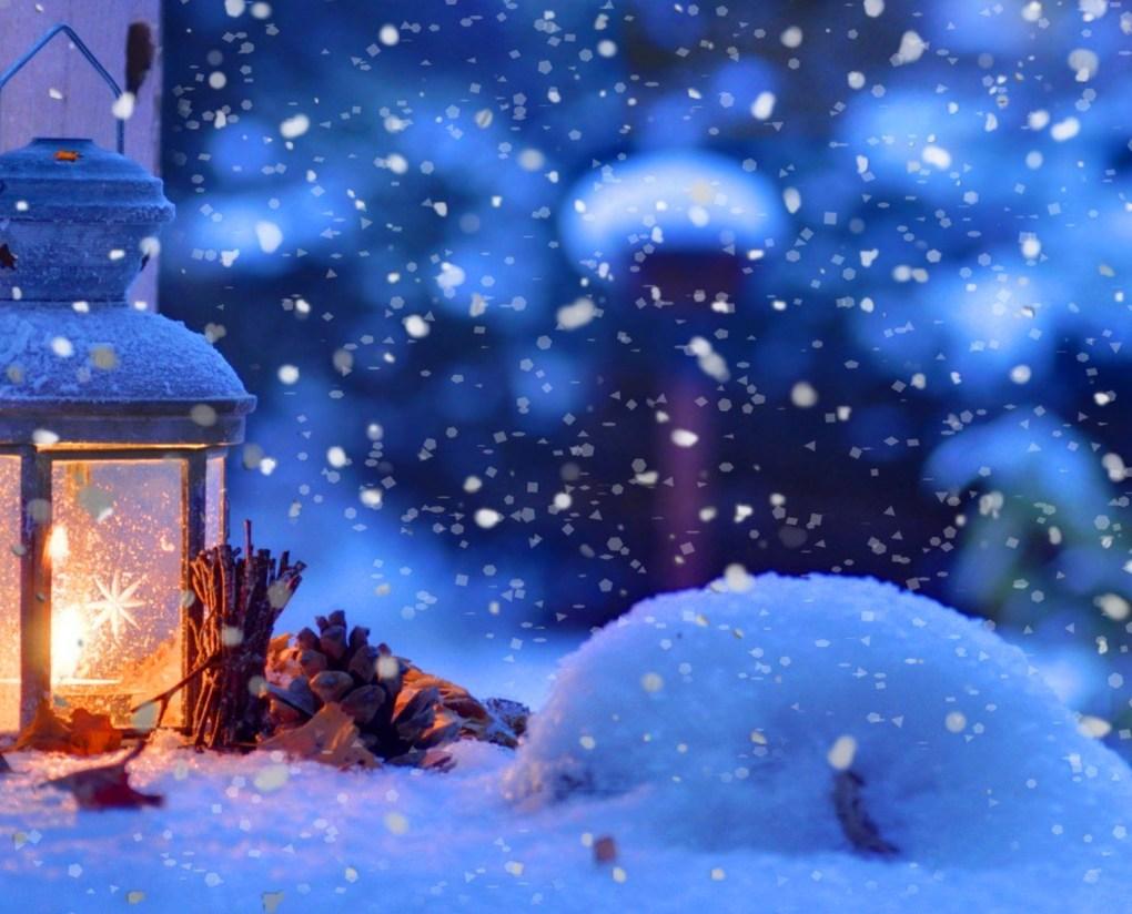 warm winter snow falling