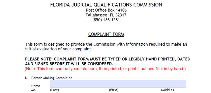 How To File A Complaint About A Florida Judge With The JQC
