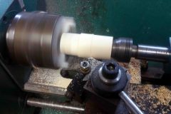 Turning a replacement bassoon tenon.