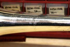 Trombone bell, after repair (closeup).