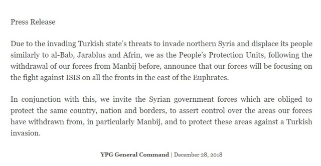 YPG Surrenders Manbij To Syrian Army (Official Statement)