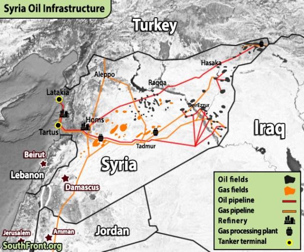 V Mapách: ropná a plynová infraštruktúra Saudská Arábia, Irán, Katar, Sýria a Irak