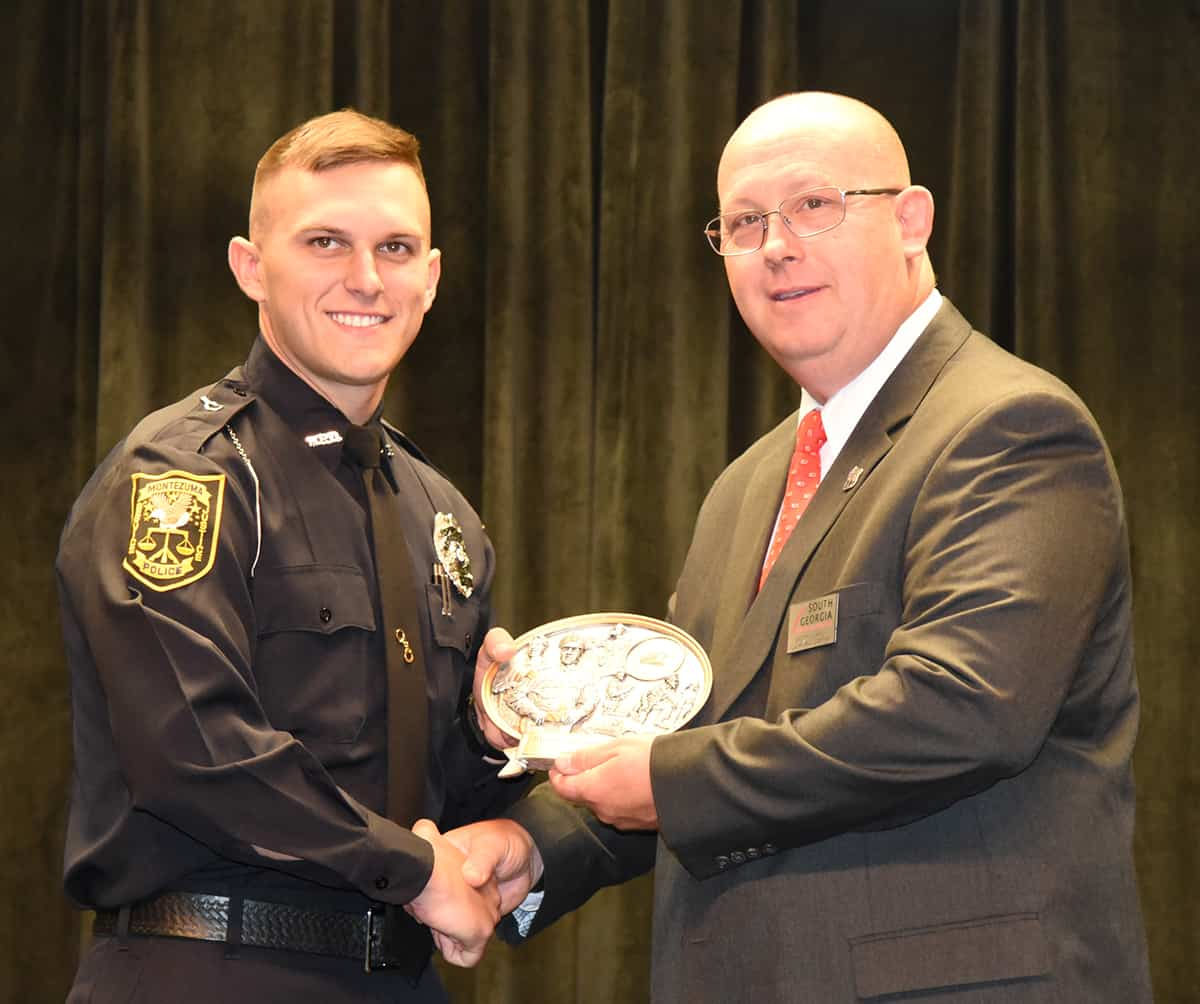 SGTC LEA Academy Director Brett Murray is shown above presenting Dalton Lee Windham of Ellaville with the Class Representative Award for the Class of 18-01.