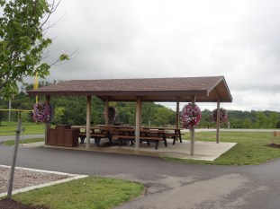 picnic pavilion (with hangng flower baskets!)