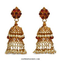22K Gold Jhumka Earrings from Bhima Jewels ~ South India ...
