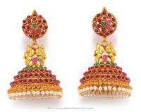 Antique Ruby Jhumka Earrings ~ South India Jewels