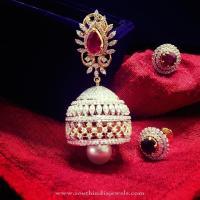 Bridal Diamond Jhumka from Parnicaa ~ South India Jewels