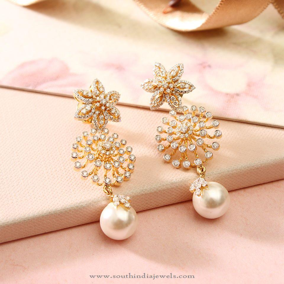 Diamond Fancy Earrings with Pearls from Manubhai ~ South