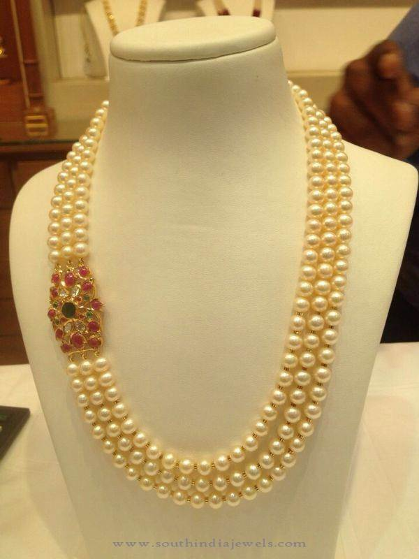 Three Layer Pearl Mala With Ruby Side Locket South India