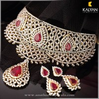 Gold Diamond Necklace and Earrings from Kalyan Jewellers ...