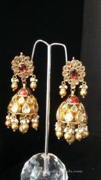 Indian Bridal Kundan Jhumka Earrings ~ South India Jewels