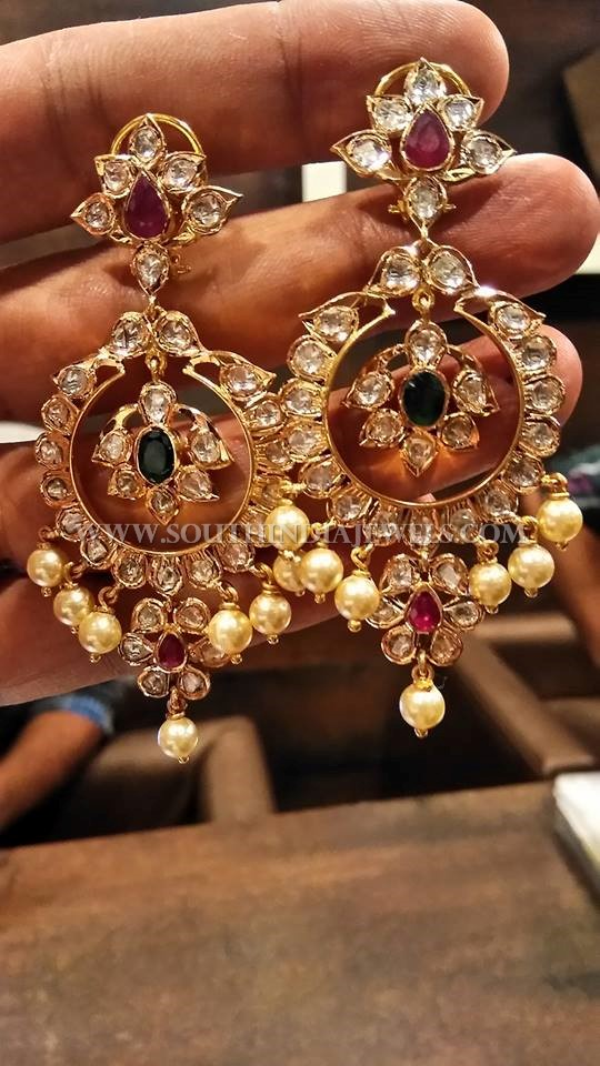 Big Gold Uncut Diamond Earrings Design ~ South India Jewels
