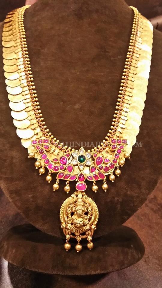 Gold Kasu Haram With Ganesh Pendant South India Jewels