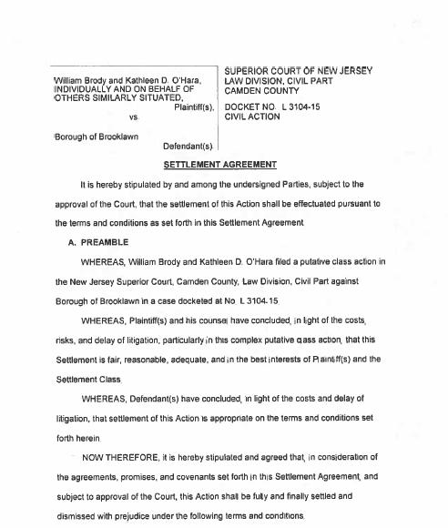 Bellmawr, Brooklawn Boros Settle Class Action Lawsuit
