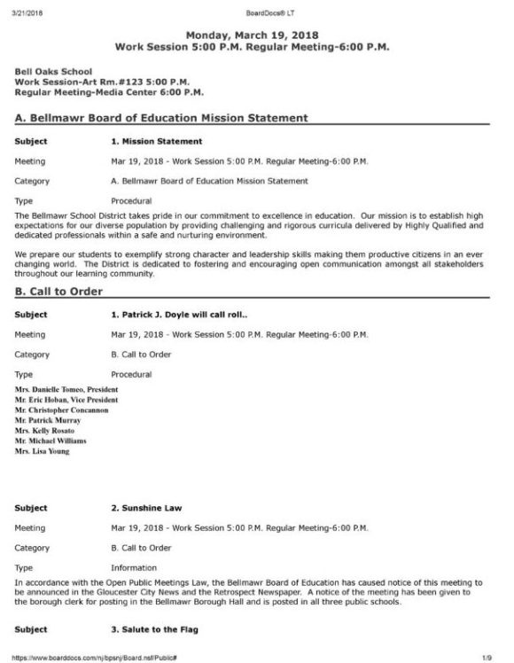 Bellmawr School Board March 19, 2018 Agenda