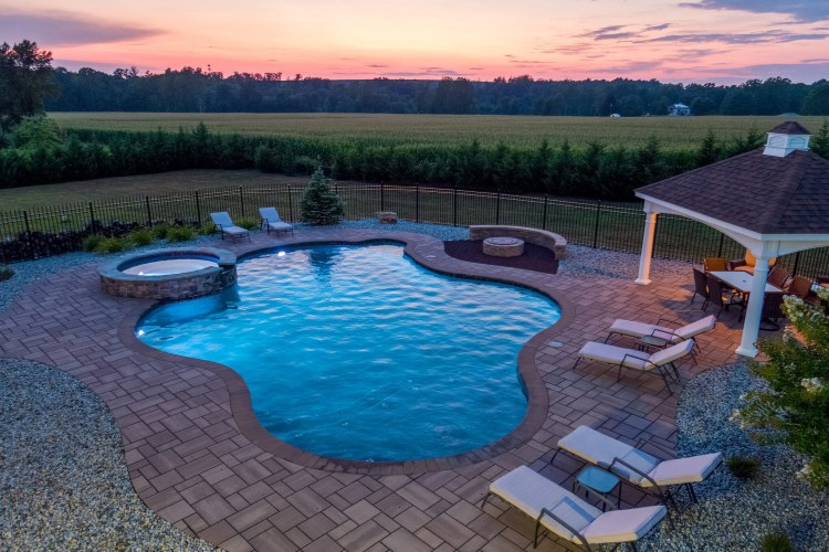Pool with sunset view