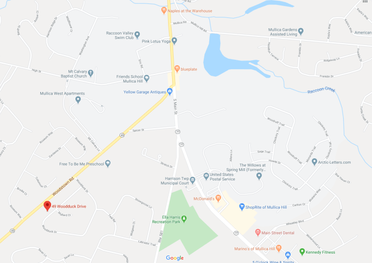 map location showing mullica hill