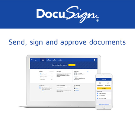 Docusign allows you to sign documents from your computer or smartphone.