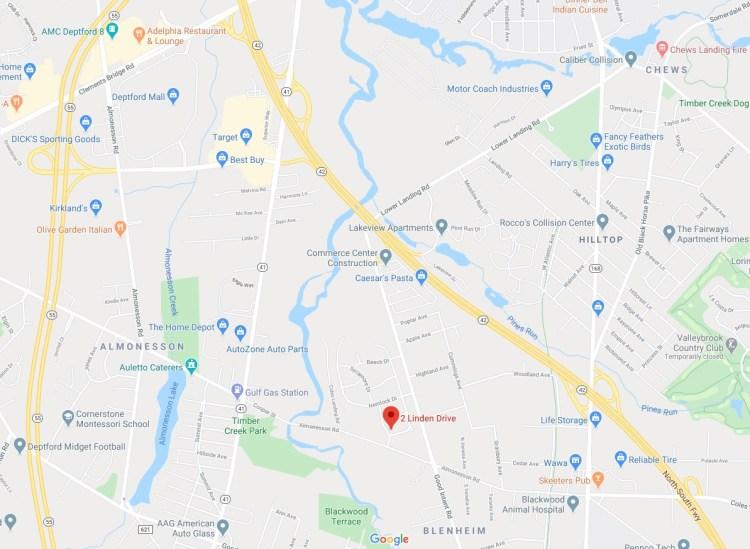 Map Location of 2 Linden Drive Blackwood NJ