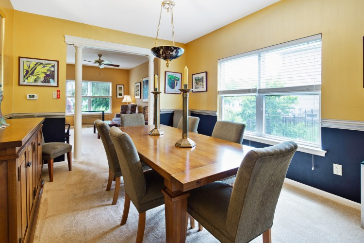 Dining Room is bright with natural sunlight.