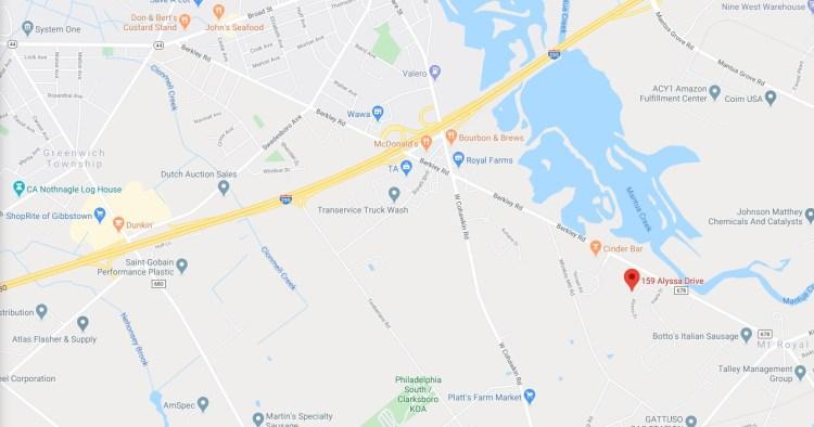 Detailed Map location of 159 Alyssa Dr Mt Royal NJ