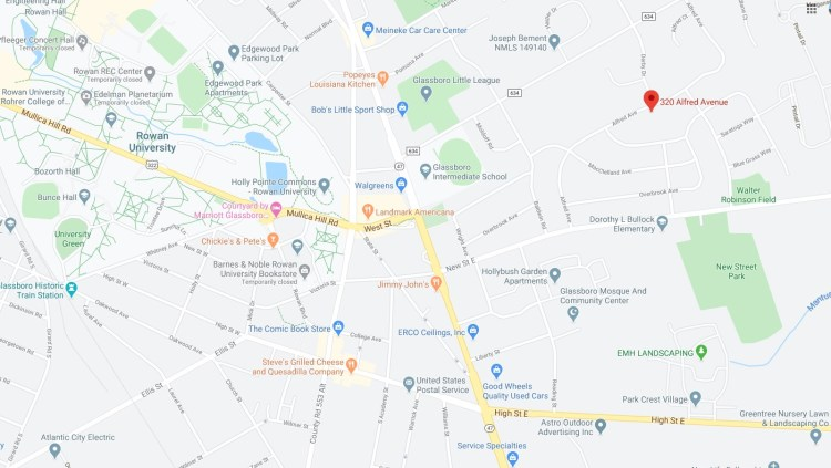 Detailed map location of 320 Alfred Avenue Glassboro NJ 08028