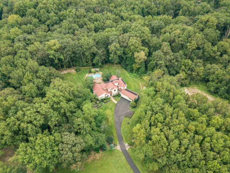 South Jersey Luxury Homes 529 Shadowbrook Trail aerial photo showing privacy