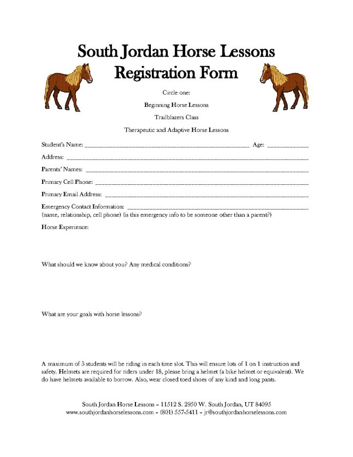 Registration Form - Horse Lessons