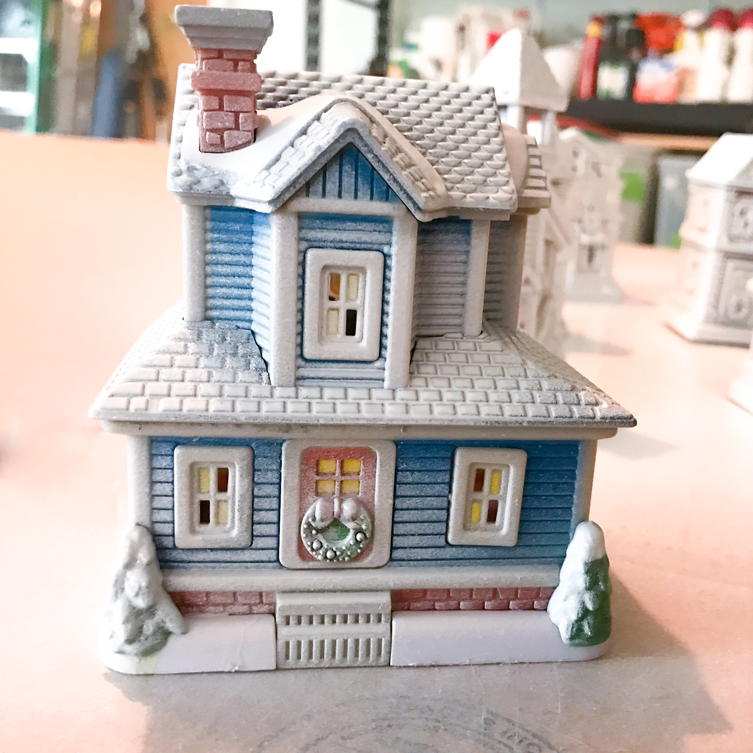 How To Store Christmas Village Houses.Dollar Store Christmas Village House With Snow South