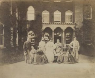 Archive photograph of George Harry, 7th Earl of Warrington and Catherine, 7th Countess of Warrington (centre) at Enville Hall c 1860 (NT/Robert Thrift)