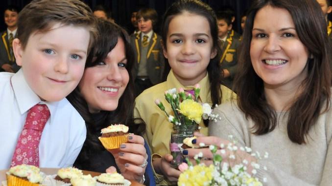 Joseph and mum Lisa Oakes, with Lindsay Freeman and daughter Sophia