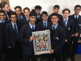 Marvy and Hukam with members of The Manchester Grammar School Sikh Society