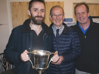 John Howard present the trophy to Julian Patterson and manager Rob O'Connor