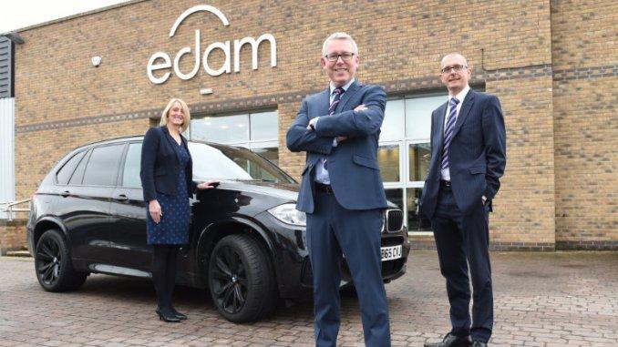 Amanda Miller (asset finance manager at Yorkshire Bank), Steve Turner (MD of EDAM Group) and Stephen Cox (relationship manager at Yorkshire Bank)