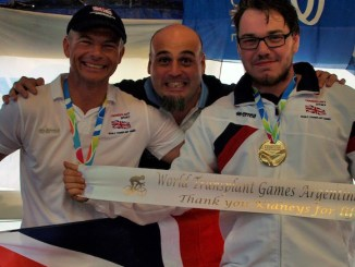 Sam Clarke and Simon Elmore with their gold medals from Argentina